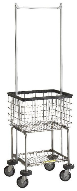 Deluxe Elevated Laundry Cart w/ Double Pole Rack