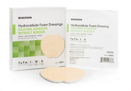 Silicone Foam Dressing McKesson Sacral Silicone Gel Adhesive without Border Sterile