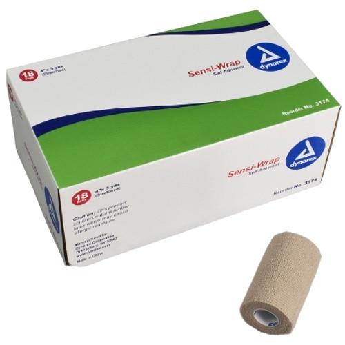 Cohesive Bandage Sensi Wrap Standard Compression Self adherent Closure Tan NonSterile