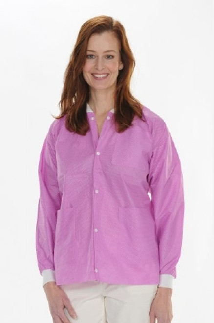 Protective Lab Jacket ValuMax Extra-Safe Raspberry Long Sleeves Hip Length