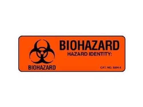 """Biohazard Chemical Hazard Label, Fluorescent Red - 1""""x 3"""""""