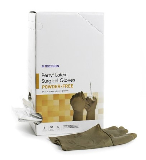 Surgical Glove McKesson Perry Sterile Brown Powder Free Latex Hand Specific Smooth Not Chemo Approved