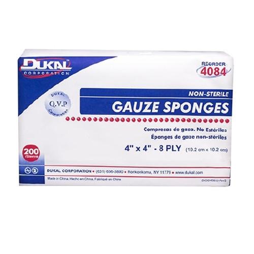 """Dukal Gauze Sponge, 4"""" x 4"""", 8-Ply"""