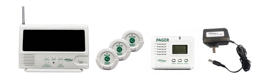 433-CMU, (3) 433-NC, 433-PGD, and AC-04E - Central Monitor Unit, 3 nurse call buttons, pager and adapter