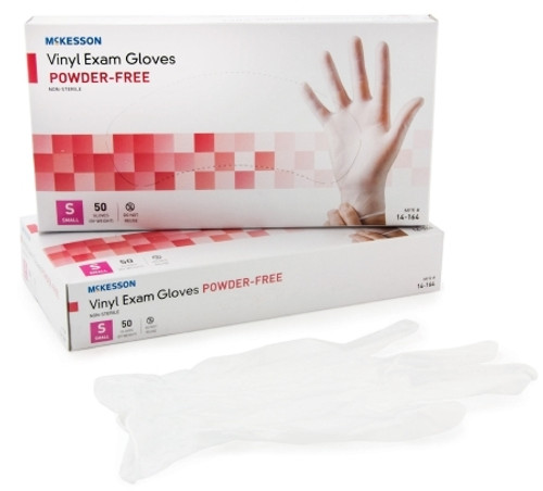 Exam Glove McKesson Confiderm NonSterile Clear Powder Free Vinyl Ambidextrous Smooth Not Chemo Approved Small