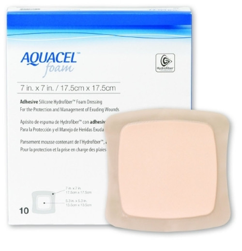 Silicone Foam Dressing Aquacel Square Silicone Adhesive with Border Sterile