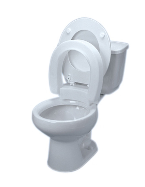 elevated toilet seat hinged