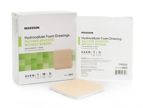 Silicone Foam Dressing McKesson Square Silicone Gel Adhesive without Border Sterile