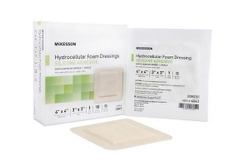 Foam Dressing McKesson Silicone 4 X 4 Inch Square Adhesive 3 X 3 Inch Pad Sterile