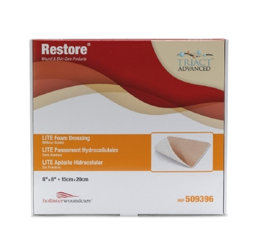 Thin Foam Dressing Restore LITE Rectangle Non-Adhesive without Border Sterile