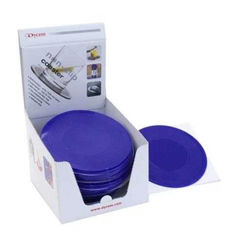 dycem 5.5 round table mat display 25 per dispenser