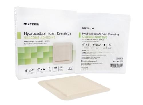 Silicone Foam Dressing McKesson Square Silicone Adhesive with Border Sterile