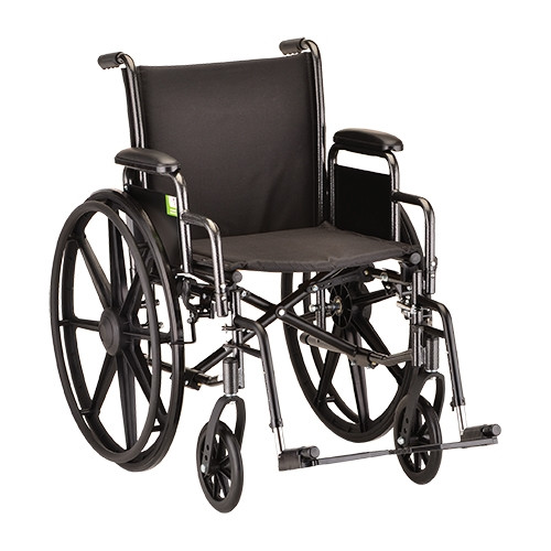 18 Inch Steel Wheelchair with Detachable Arms and Footrests