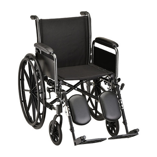 "18"" Steel Wheelchair w/ Detachable Full Arms & Elevating Leg Rests"