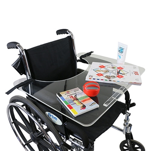 wheelchair tray clear acrylic rim and straps