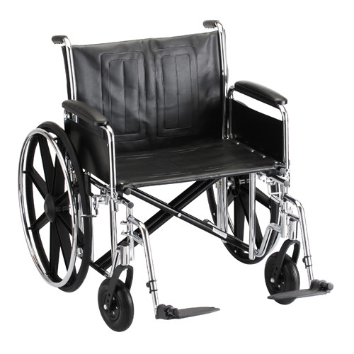 24 Inch Steel Wheelchair w/ Detachable Full Arms & Footrests