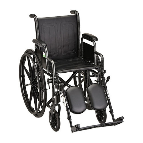 18 Inch Steel Wheelchair with Detachable Arms & Elevating Leg Rests