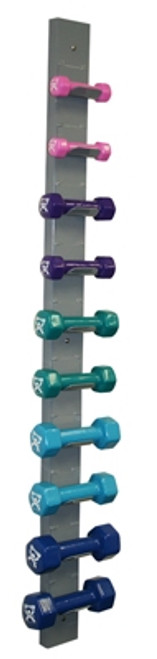 cando vinyl coated dumbbell with wall rack
