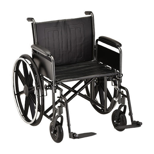 22 Inch Steel Wheelchair Detachable Full Arms & Footrests