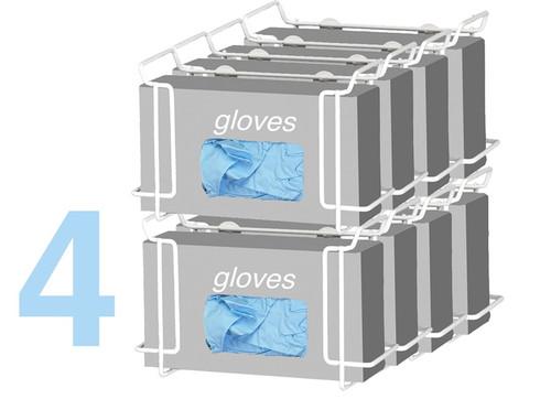 Double Wire Glove Box Dispenser, White (4 pack)