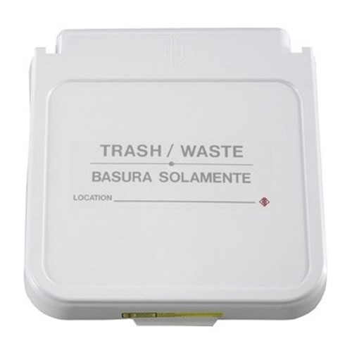 Receptacle Label, Trash/Waste - Gray Lettering, pack of 5