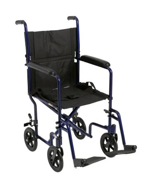 mckesson lightweight blue aluminum transport chair