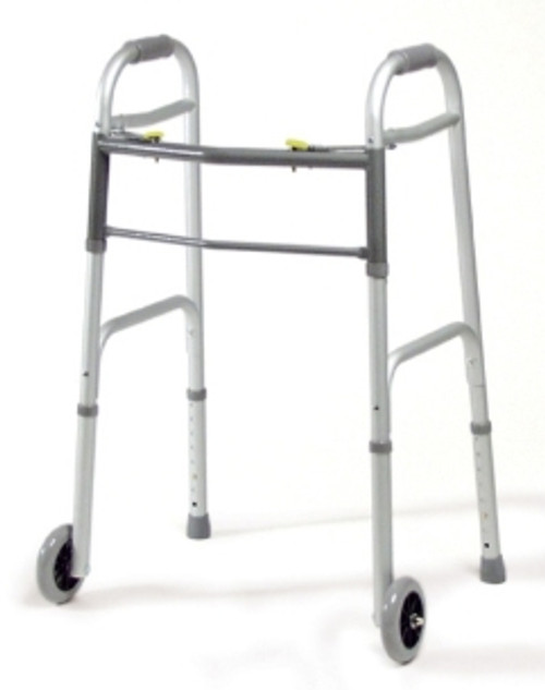 Dual Release Folding Walkers with Wheels