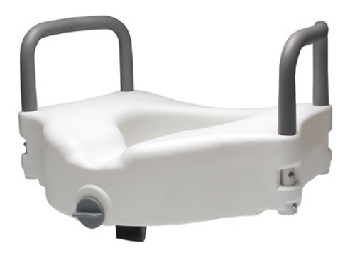 Locking Raised Toilet Seat With Removable Armrests