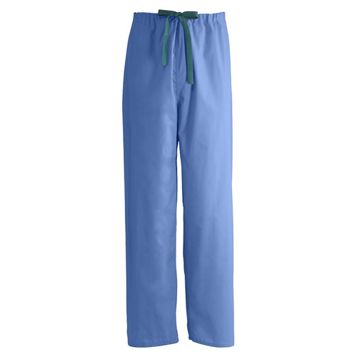 Encore Unisex Reversible Drawstring Scrub Pants, Ceil Blue