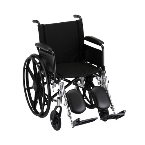 18 Inch Lightweight Wheelchair w/ Full Arms & Elevating Leg Rests