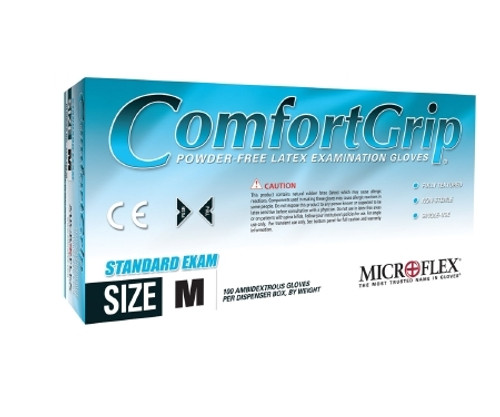 Exam Glove COMFORTGrip NonSterile Natural Powder Free Latex Ambidextrous Fully Textured Not Chemo Approved
