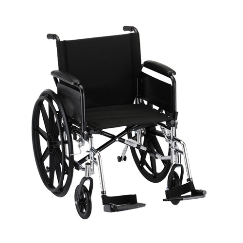 20 Inch Lightweight Wheelchair w/ Full Arms & Footrests