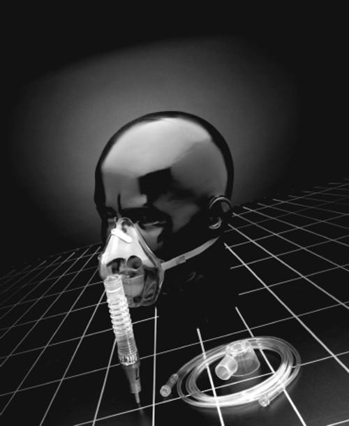 Oxygen Entrainment Mask Kit Percent-Lock Venturi / Diluter Jets Adult One Size Fits Most Adjustable Elastic Head Strap