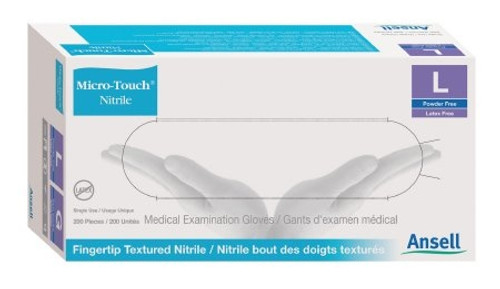 Exam Glove Micro-Touch Nitrile NonSterile Blue Powder Free Nitrile Ambidextrous Textured Fingertips Chemo Tested