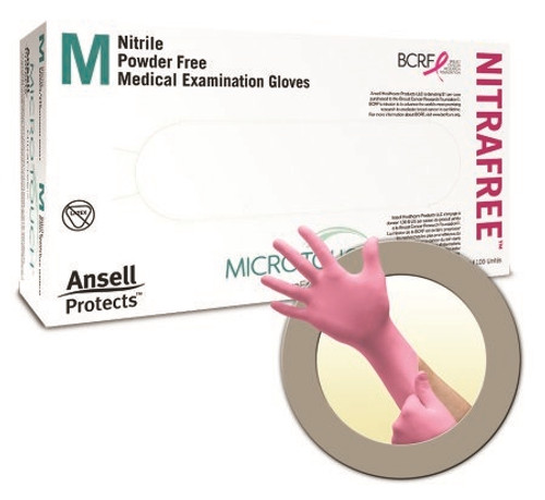 Exam Glove Micro-Touch NitraFree NonSterile Pink Powder Free Nitrile Ambidextrous Textured Fingertips Chemo Tested