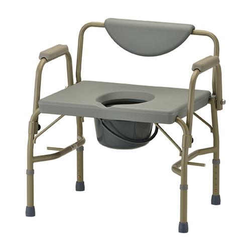 Heavy Duty Commode with Drop-Arm & Extra Wide Seat
