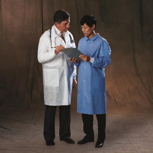 Protective Lab Coat Basic White Long Sleeves Knee Length