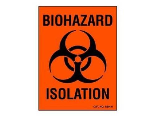 """Biohazard Chemical Hazard Label, Fluorescent Red - 3""""x 4"""""""