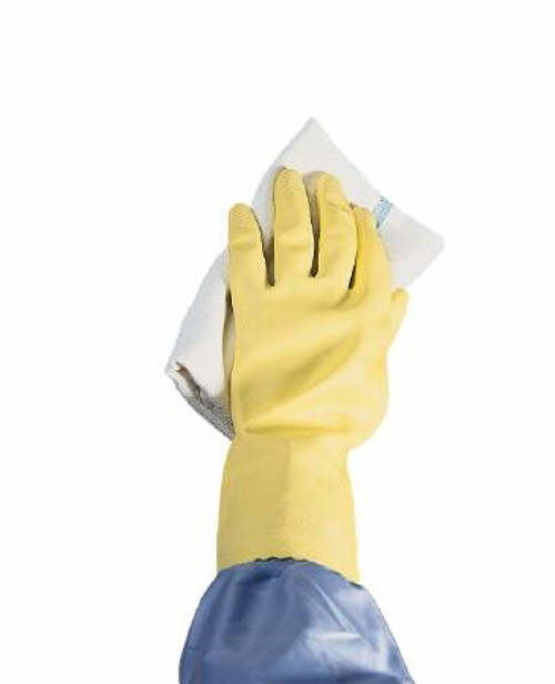 Utility Glove Flock Lined Latex Yellow 12 Inch Straight Cuff NonSterile