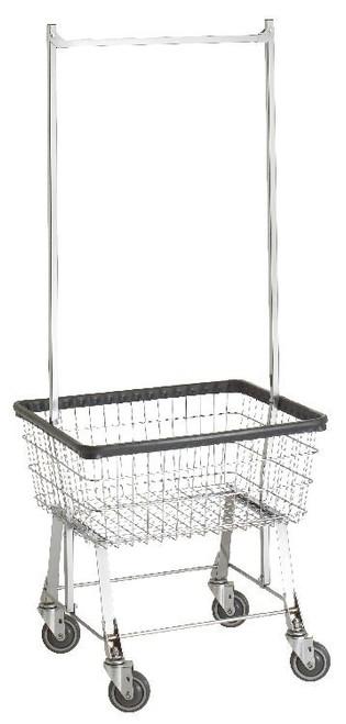 Economy Laundry Cart w/ Double Pole Rack