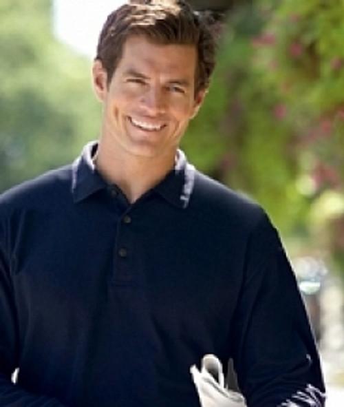 Men's Long Sleeve Pique Polo Shirts