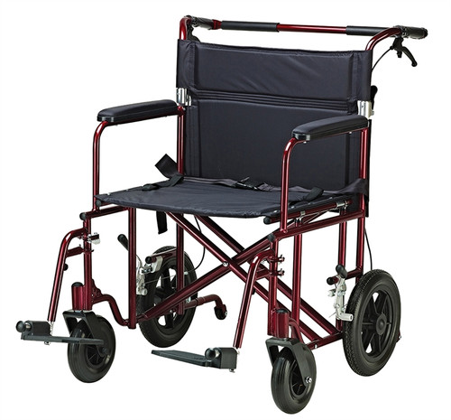 """22"""" Bariatric Transport Chair with 12"""" Rear """"Flat Free"""" Wheels"""