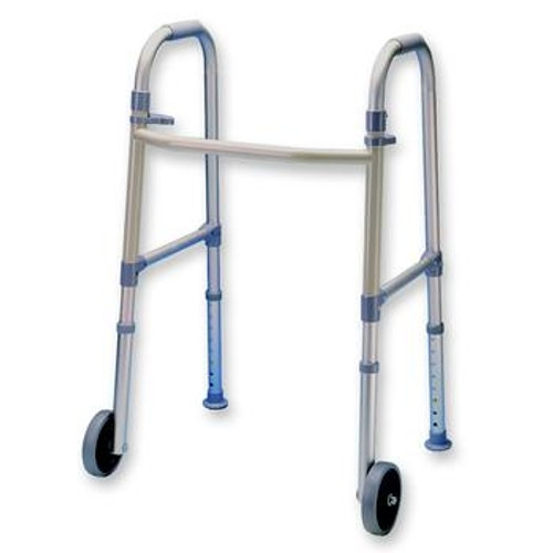 Fixed Wheel Dual Paddle Adult Folding Walker with Glides