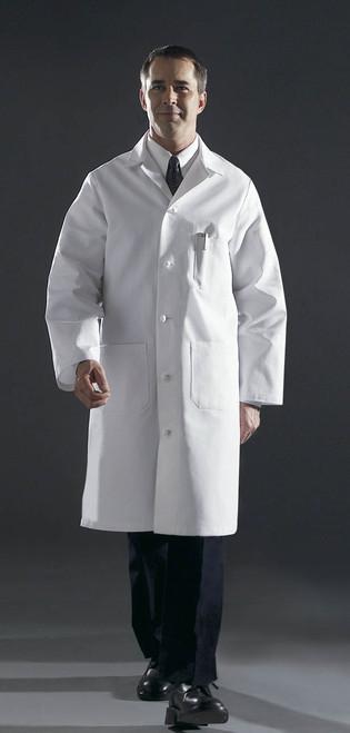 Men's Premium Full Length Lab Coats, White - Poly/Cotton