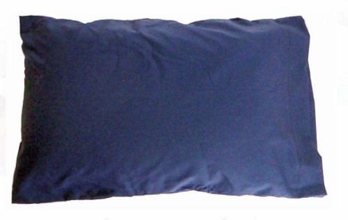Bed Pillow SnuggleHose Adjustable Firmness 12 x 18 Inch Beige with Navy Blue Pillowcase Reusable