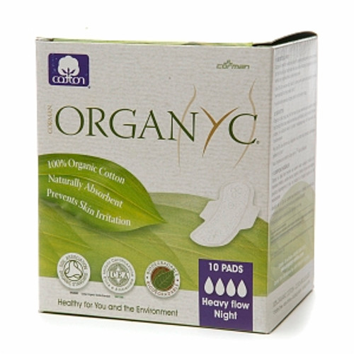 Organyc Cotton Pads with Wings, Heavy Flow Night