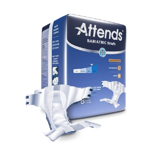 Adult Incontinent Brief Attends Bariatric Tab Closure 3X-Large Disposable Heavy Absorbency