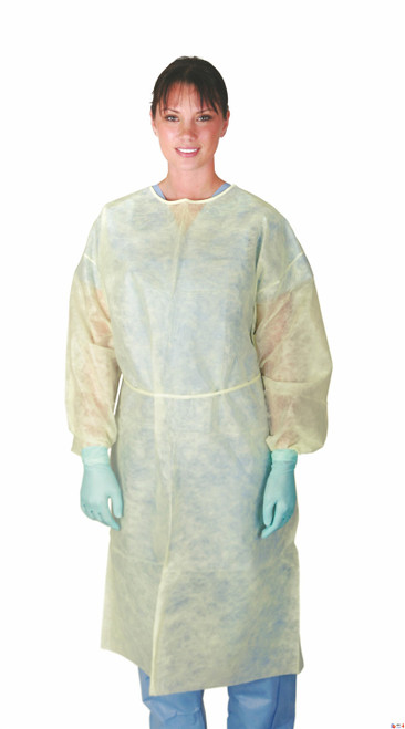 Polypropylene Isolation Gowns, Yellow, X-Large