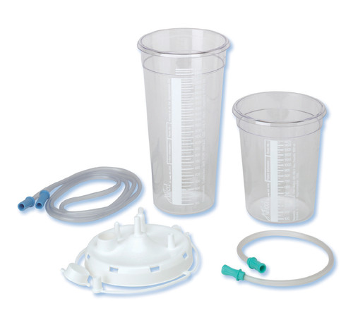 Suction Canisters with Tubing 1500cc, Stem Lid