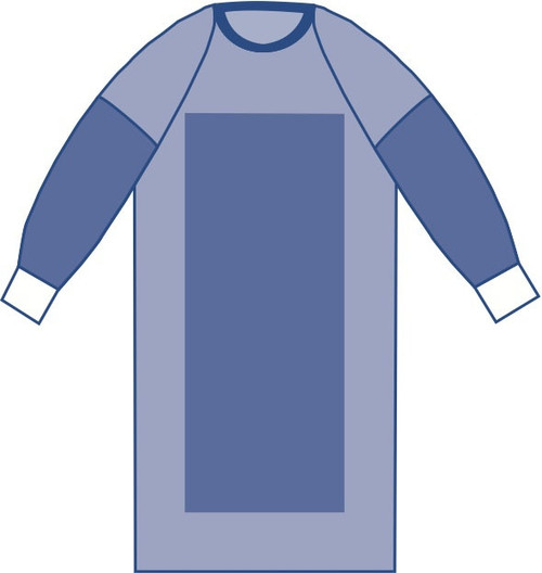 Sterile Poly-Reinforced Sirus Surgical Gowns with Raglan Sleeves, Blue